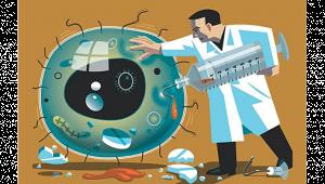 รูปกราฟฟิคเป็นรูปคุณหมอกำลังใช้เข็มฉีดยาฉีดเชื้อโรค