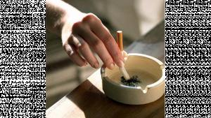 รูปประกอบเป็นรูปคนกำลังดับก้นบุหรี่