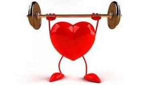รูปกราฟฟิคเป็นรูปหัวใจกำลังยกน้ำหนัก