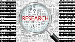 รูปกราฟฟิคแว่นขยายส่องคำว่า Research