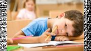 รูปเด็กนั่งเรียนหนังสือ