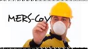 รูปประกอบเป็นรูปผู้ชายใส่อุปกรณ์ปิดปากและกำลังเขียนคำว่าเมิร์ส MERS-CoV